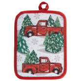 Snowy Truck & Pine Trees Pot Holder