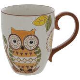 Orange & Green Geometric Owl Mug