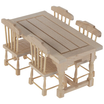 Miniature Unfinished Table & Chairs