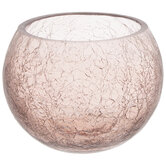 Mauve Round Crackled Glass Candle Holder