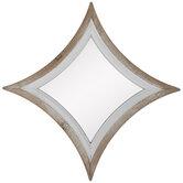 Whitewash Star Wood Wall Mirror