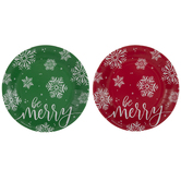 Green & Red Be Merry Paper Plates - Large