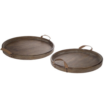 Brown Round Wood Tray Set