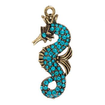 Turquoise Rhinestone Seahorse Pendant
