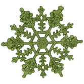 Lime Glitter Snowflake Ornaments