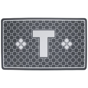 Gray Geometric Tiles Letter Doormat - T