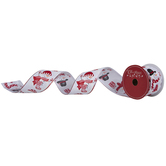 Red & White Snowman Wired Edge Ribbon - 2 1/2""
