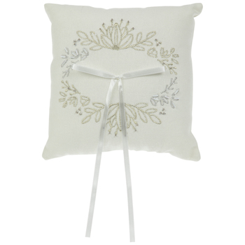 Embroidered Canvas Ring Pillow