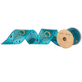 """Blue Peacock Feather Wired Edge Ribbon - 2 1/2"""""""