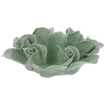 Green Rosebud Flower Ring Holder