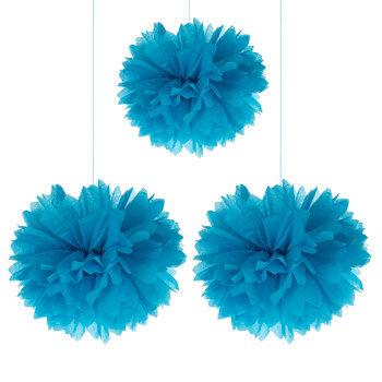 Bright Blue Tissue Pom Poms