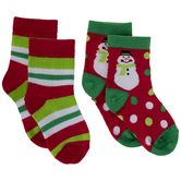 Red, Green & White Snowman Crew Socks