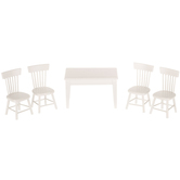 White Miniature Dining Table & Chairs