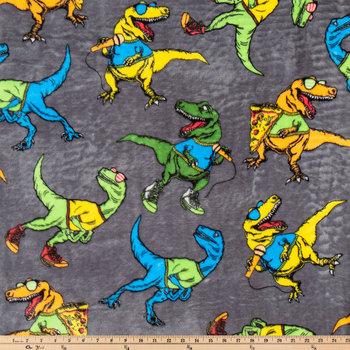 Cool T-Rex Velvet Fleece Fabric