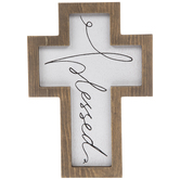 Cursive Blessed Wood Wall Cross