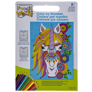 Floral Unicorn Color By Number Kit