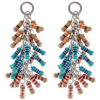 Blue & Tan Bead Dangle Pendants