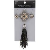 Beaded Tassel Pendant & Earrings Set