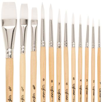White Nylon Paint Brushes - 12 Piece Set