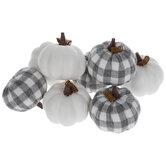 Gray & White Buffalo Check Pumpkins