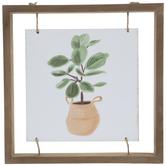 Fiddle Leaf Fig Basket Wood Wall Decor