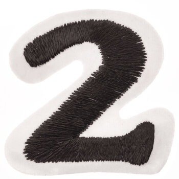 """Black Embroidered Iron-On Number 2 - 1 1/2"""""""
