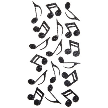 Black Glitter Music Notes Stickers