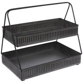 Rectangular Two-Tiered Galvanized Metal Tray