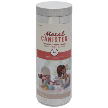 Stackable Galvanized Metal Canisters