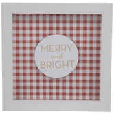 Merry & Bright Gingham Framed Wall Decor