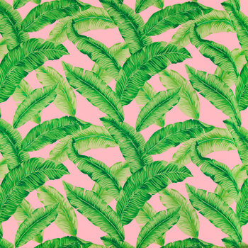 Tropical Leaves On Pink Apparel Fabric