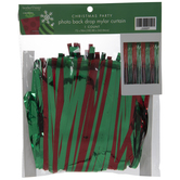 Green & Red Striped Mylar Curtain