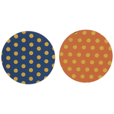Blue & Orange Foil Polka Dot Coasters