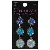 Purple, Blue & White Faceted Round Charms