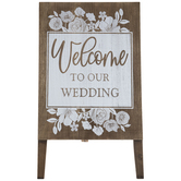 Welcome To Our Wedding Easel Wood Decor