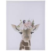 Floral Giraffe Canvas Wall Decor