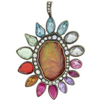 Multi-Color Rhinestone Flower Pendant