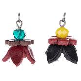 Red & Black Flower Leather & Bead Pendants