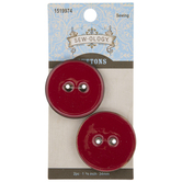Red Round Coconut Buttons - 34mm