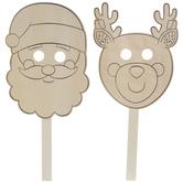 Santa & Reindeer Wood Masks