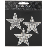 Silver Stars Rhinestone Iron-On Appliques