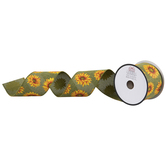 Sunflowers Wired Edge Burlap Ribbon - 2 1/2""