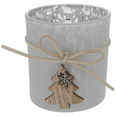 White Mercury Glass Candle Holder With Tree
