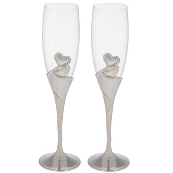 Silver Double Heart Toasting Glasses