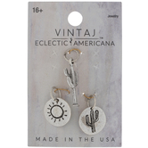 Sterling Silver Plated Cacti & Sun Charms