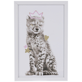 Cheetah With Crown Framed Wood Wall Decor