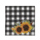 Black & White Buffalo Check & Sunflower Napkins - Small