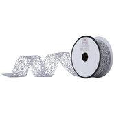 """Silver Metallic Web Mesh Ribbon - 1 1/2"""""""