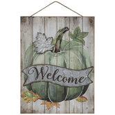 Green Welcome Pumpkin Wood Wall Decor