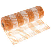 "Orange & White Buffalo Check Deco Mesh Ribbon- 10"""
